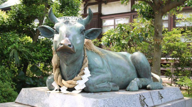 なんで牛?永谷天満宮の参道に鎮座する神牛像のお話